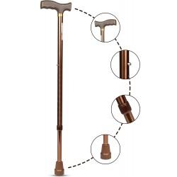 Entros Premium Height Adjustable Aluminum L-Shaped Walking Stick (Brown)