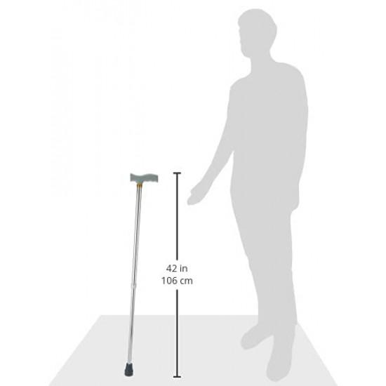 Entros Premium Height Adjustable Aluminum L-Shaped Walking Stick (Silver)