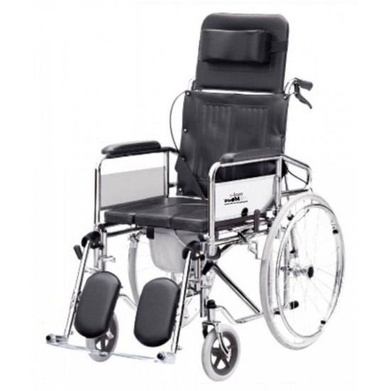 Reclining Wheelchair with Commode (U Cut seat)